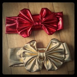 Other - 2 infant headbands with bow red gold